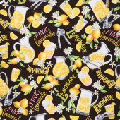 Lemon Fresh - Lemon Squeeze Black Yardage