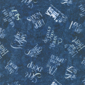 Water Wishes - Words Allover Navy Yardage