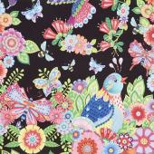 Rainbow Flight - Large Animals and Flowers Black Yardage