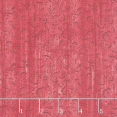 Festive Chickadee - Washed Scroll Light Red Yardage