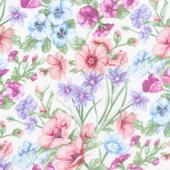 Papillon Parade - Large Floral White Yardage