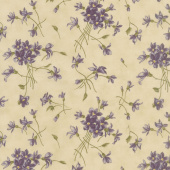 Sweet Violet - Violet Spray Ivory Yardage