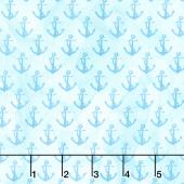 Sail Away - Anchor Mini Blue Digitally Printed Yardage