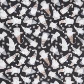 Snow Is Falling - Tossed Gnomes Black Yardage