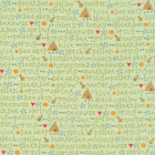 All About the Bees - Bee Words Green Yardage
