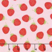 Butterflies and Berries - Butterflies Strawberries Pink Yardage