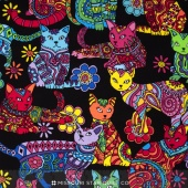 Cats - Cat Coloring Multi Yardage