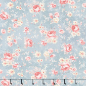 Farmhouse Chic - Floral Toss Gray Blue Yardage