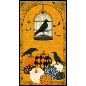 Raven's Claw - Birds and Cage Orange Digitally Printed Panel