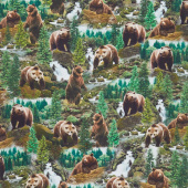 Animals - Wild Grizzly Bears Multi Digitally Printed Yardage