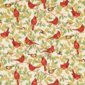 Winter's Grandeur 8 - Holiday Birds Leaves Metallic Yardage