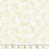 Midnight Rose - Rose Stems Cream with Gold Sparkle Yardage