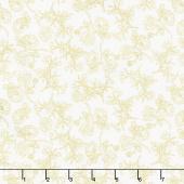 Midnight Rose - Rose Stems Cream with Gold Sparkle Yardage