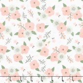 Modern Farmhouse - Modern Floral White Metallic Yardage