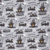 Hocus Pocus - Haunted Night Gray Metallic Yardage