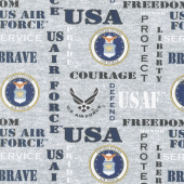 Military - Air Force Words Gray Yardage