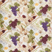 Novelty - Wine and Grapes on Text Multi Yardage