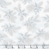 Holiday Flourish 12 - Peacock Boughs Blue Metallic Yardage