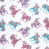 Believe in Unicorns - Allover Unicorns Pastel Metallic Yardage