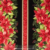 Songbird Christmas - Stripe Black Yardage