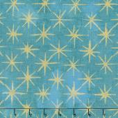 Grunge Seeing Stars - Ocean Metallic Yardage