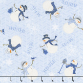 Welcome Winter - Tossed Snowmen Blue Yardage