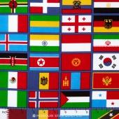 Our World - World Flag Blue Yardage