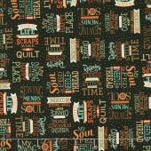 Sewing Mends the Soul - Sewing Words Black Yardage