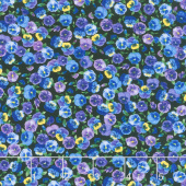 Pansy Paradise - Mini Pansies Black Yardage