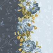 English Countryside - Floral Stripe Blue Yardage