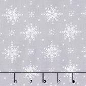 Woodland Winter - Stitch Snowflakes Silver Yardage