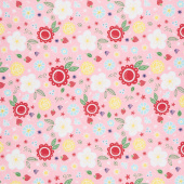Flutter and Shine - Floral Pink Yardage