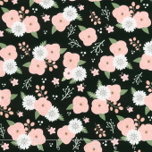 Modern Farmhouse - Modern Floral Black Metallic Yardage