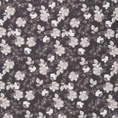 Gingham Gardens - Lined Floral Charcoal Yardage