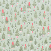 Farmhouse Christmas - Trees Sage Yardage