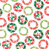 Camp Joy - Holiday Wreaths White Yardage