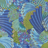 Enchanted - Packed Feathers Peacock Metallic Yardage