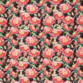 Pink Garden - Packed Floral Black Yardage