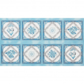 Holiday Flourish 12 - Peacock Snowflakes Blue Metallic Panel