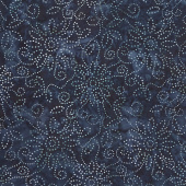 Kaleidoscope Floral Batiks - Dark Blue Black Yardage