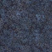 Kaleidoscope Floral Batiks - Dark Blue Black Yardage