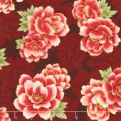 Imperial Collection 13 - Black Large Peonies Crimson Metallic Yardage