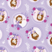 Sofia the First - Floral Frame Pastel Lavender Yardage