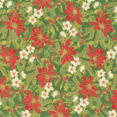 Poinsettias and Pine Metallic - Poinsettias and Holly Evergreen Yardage