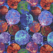 Galaxy Blast - Planets Black Digitally Printed Yardage