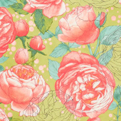 Abby Rose - Cabbage Rose Greenery Yardage