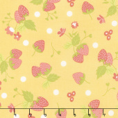 Strawberry Jam - Strawberry Polka Dot Lemonberry Yardage