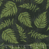 Chantrell - Fern Leaves Black Yardage