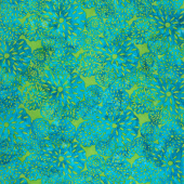 Lavish Batiks - Seed Flowers Teal Green Yardage