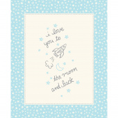 Soft & Sweet - To the Moon Blue Flannel Panel